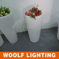 Flashing Clear Acrylic LED High Round Flower Pot