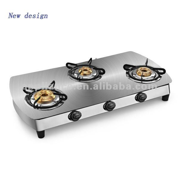 3 burner gas stove glass top gas cooker