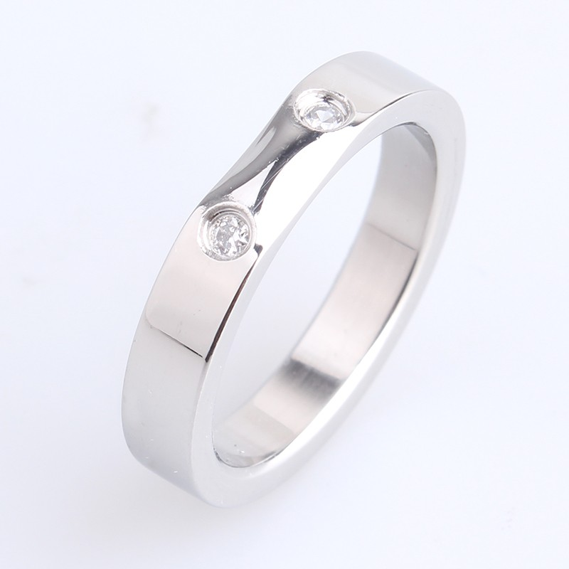 Low Price High Quality Finger Stainless Steel Ring with Double <strong>Diamond</strong>