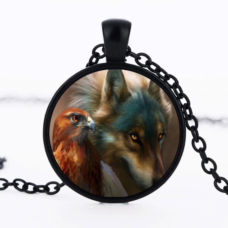 Jewelry fashion necklaces Vintage wolf and eagles gem pendant necklace