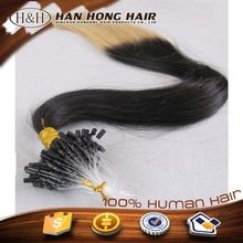 unprocessed virgin human hair ombre micro loop ring hair extension fish wire hair extension