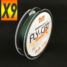 FLY -CAT X9 PE braid fishing line 100M Olive green color