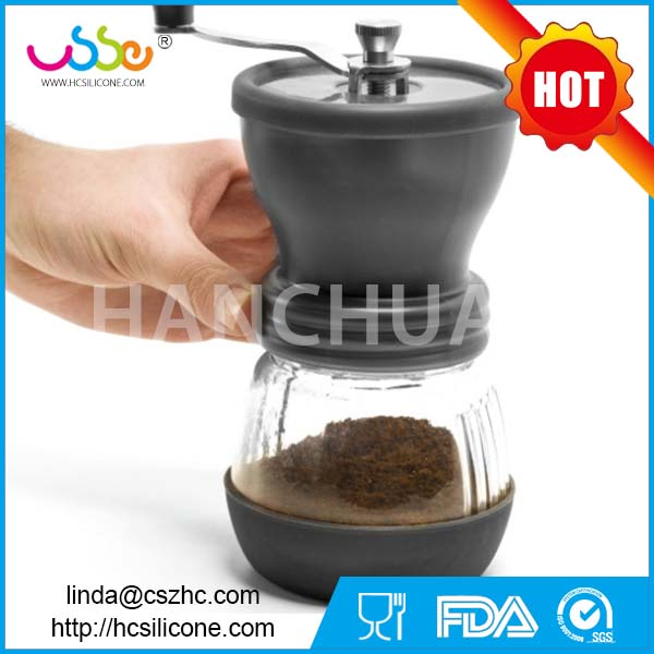 China portable silicone coffee maker manual stainless steel brown coffee grinder machine mill commercial