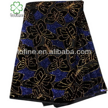 Wholesale African Velvet lace fabric with sequins embroidery lace for wedding