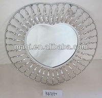 Metal lighted home heart shaped wall mirror