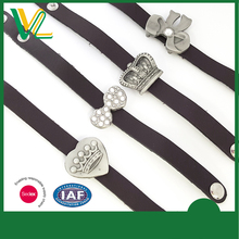 Customized hot sales Die Casting Crown Anti-Silver Souvenir Bangle Genuine Leather bracelet