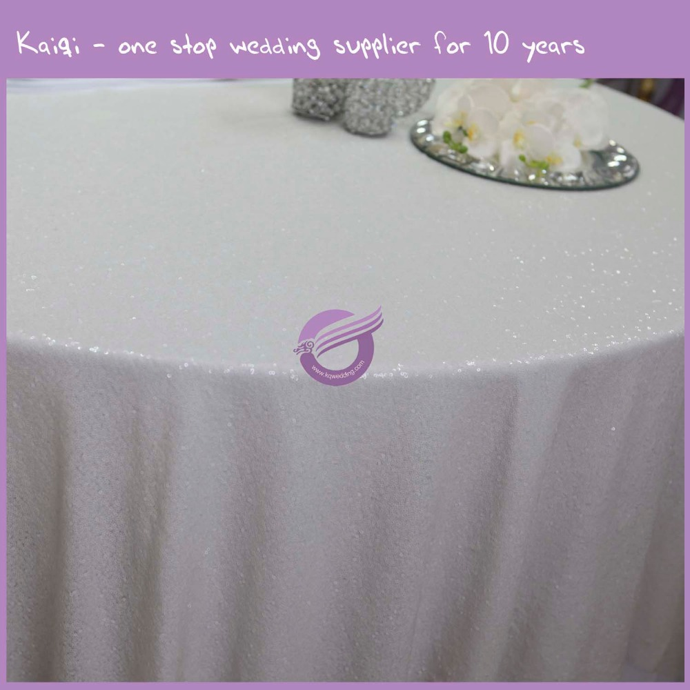 TX00353 new design wholesale glitter linen 5cm strip silver metallic sequin table cloth