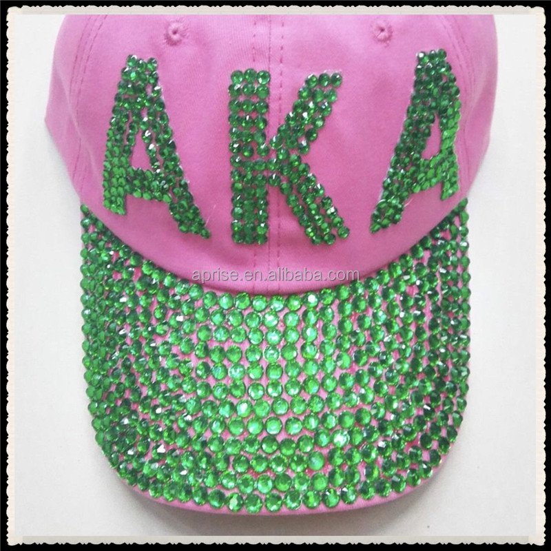 Aprise - AKA Pink and Green Rhinestone iron on transfers for Baseball Cap