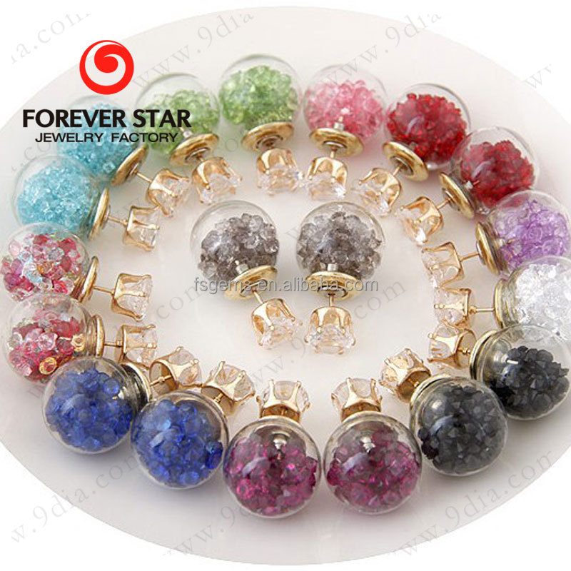 Fashion Jewelry Double Glass Ball Stud Earrings Light Bulb Stud Earrings Woman