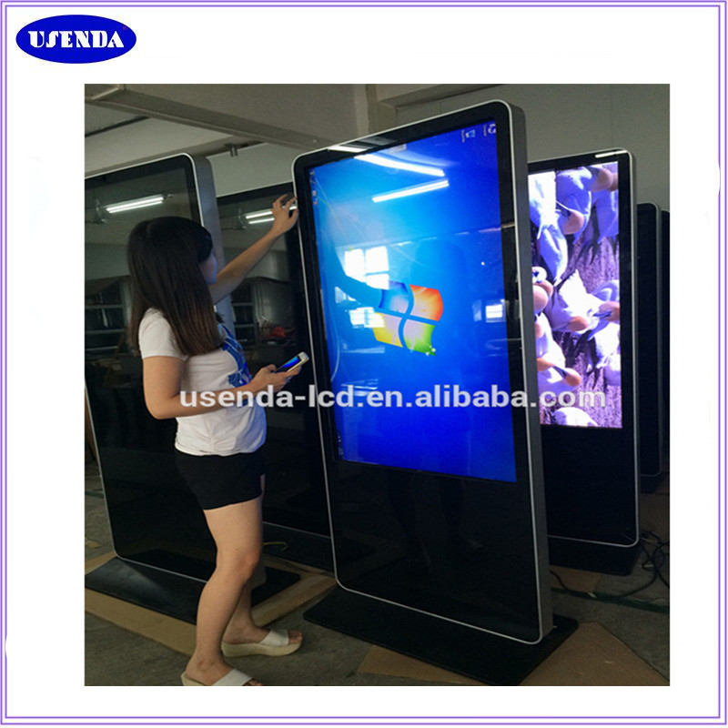 Custom 65 inch floor stand digital advertising kiosk lcd touch screen ad player