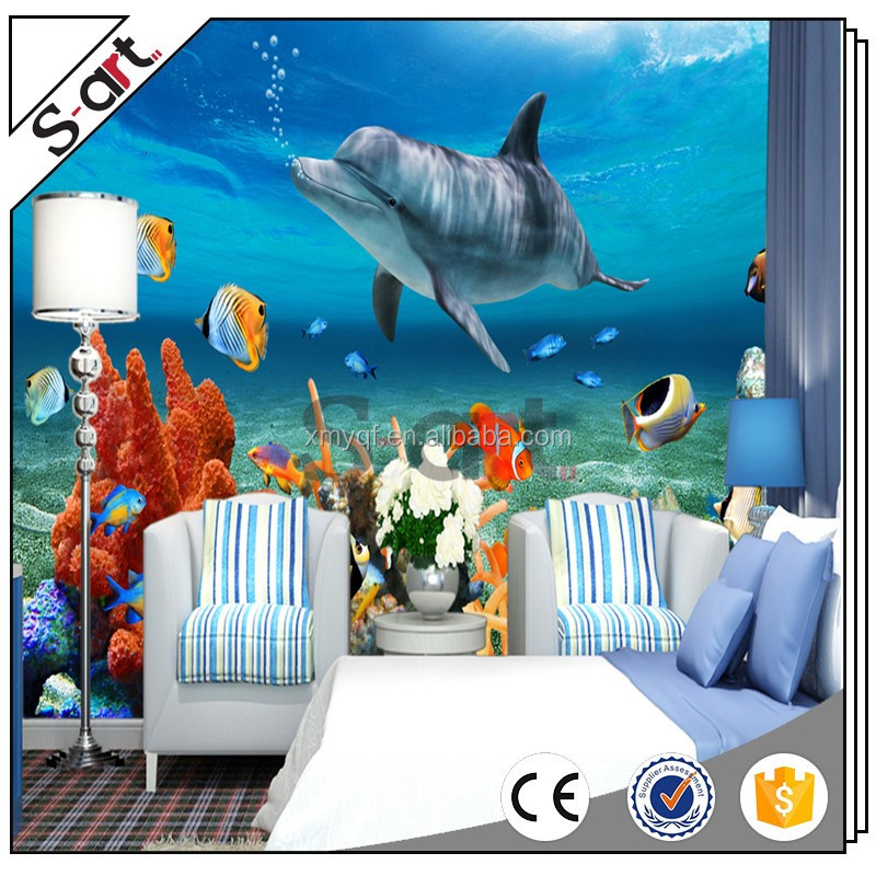 Wholesale best quality good effect blue sea world life cool modern 3d design wallpaper wall paper for home wall art decoration