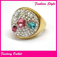 Fashionable stylish crystal ladybug ring