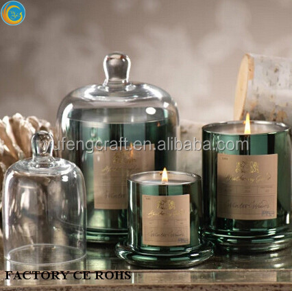 Copper Effect Glass Cloche Candle /hurricane lanterns/ copper candle jars