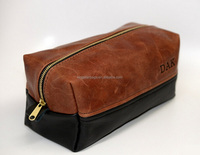 Alibaba China Crazy Horse Leather Mens Cosmetic Bag Men's Leather Vanity Bag