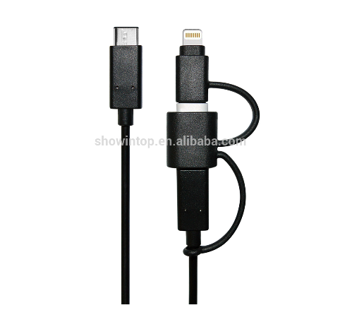 Multi phone charging MFi cable 3 in 1 black type C USB 3. 1 cable with 8 pin connectors