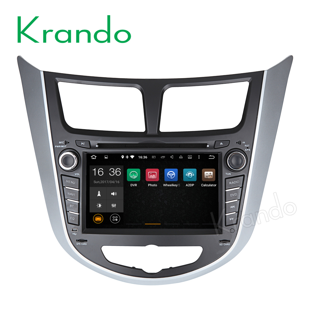 Krando Android 7.1 car radio for hyundai accent verna Solaris 2011 2012 2013+ car dvd gps navigation multimedia WIFI 3G KD-HY711