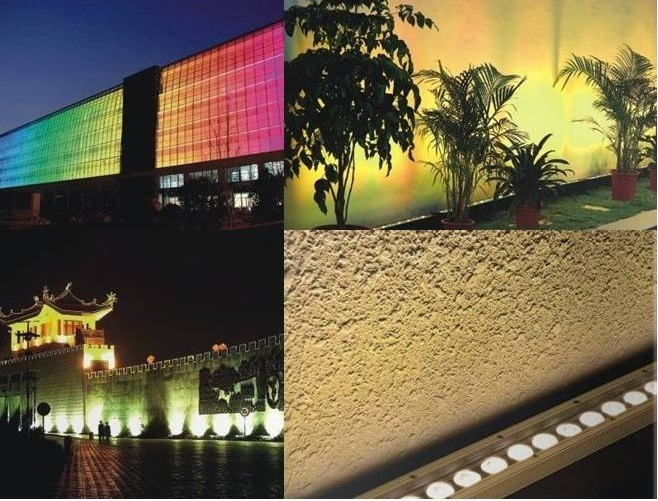 Outdoor ip65 project upward wall lighting RGB 36x1W 3in1 12x3w100cm color changing Linear strip lighting LED wall washer