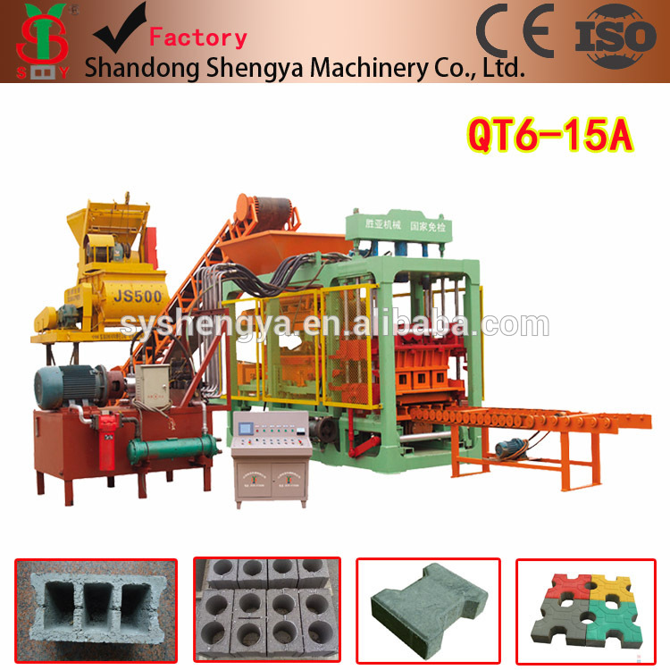 germany technology QT6-15A hydraulic fully automatic concrete/cement hollow/paver block machine full production line