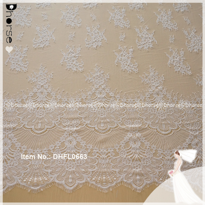 Wholesale price 100% Polyester guipure Bridal eyelash lace dress fabric DHFL0663