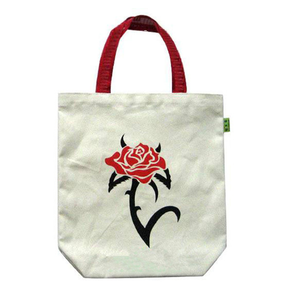 high quality red rose print and handles shoulder shopping carry 100% nature cotton tote bag
