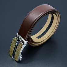 luxury Ratchet belt Men geunine leather brown belt with stainless steel Automatic Buckle