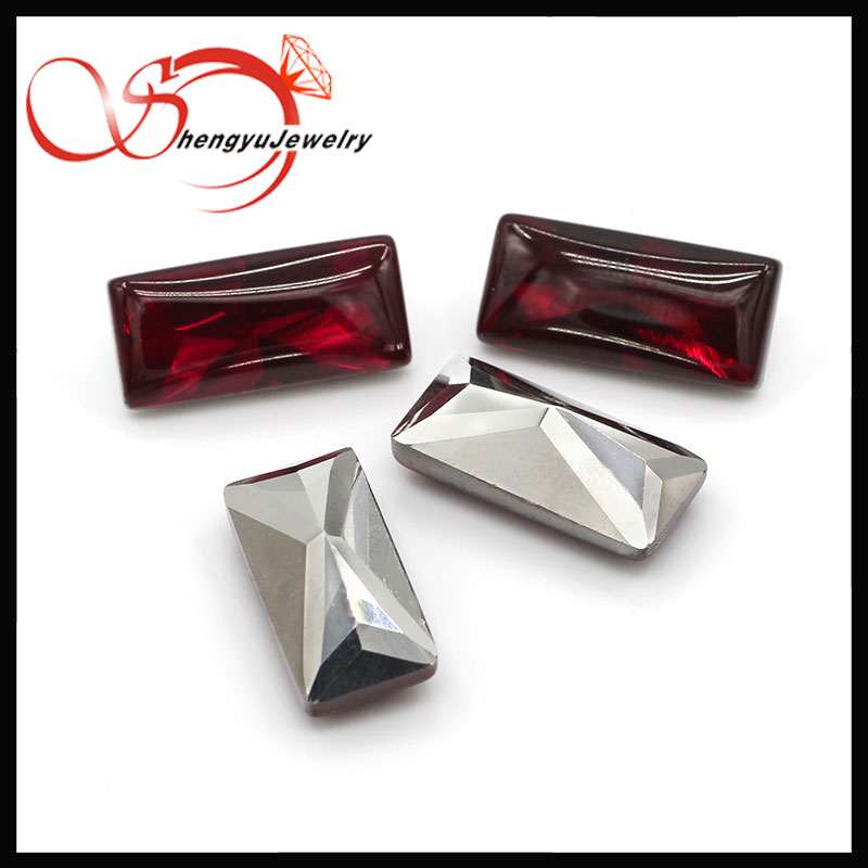 5# red color rectangle shape 9*15 mm bottom plated glass stone cabochon