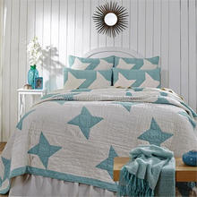 Blue stars appliqued 100% cotton bedspreads/Quilt