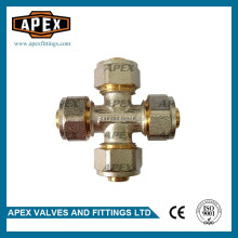APEX 16mm Brass Compression Equal Cross PEX-AL-PEX Fitting