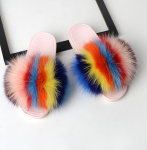 Colorful Fox Fur Slippers Factory Wholesale Woman Slides Open Toe Sandals