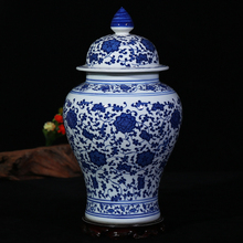 Antique blue and white decorative ceramic ginger jars with lid