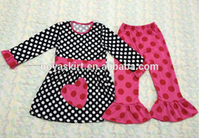 2015 spring Infant Toddler Girl Bonnie Baby Red Heart Valentines Outfit 2-12Y long sleeve ruffle top and polka dots Pant