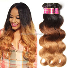 Brazilian Virgin Wavy Ombre Body Wave 3 Bundles Cheap Human Hair Products 95-100g/pcs Remy Weave Extensions Natural Color