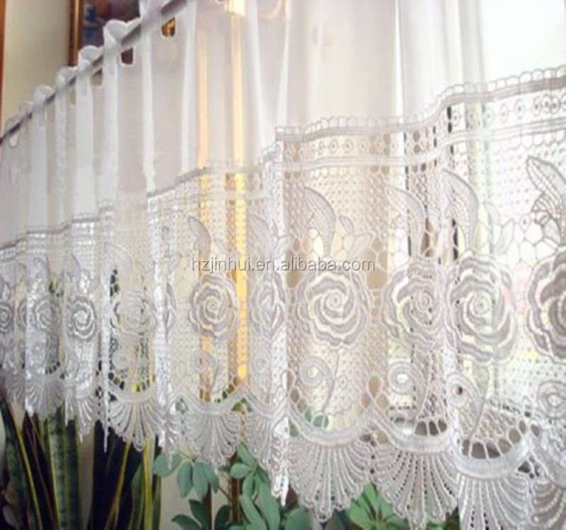 Semi Shade Finished Lace curtain Rose Water Soluble Kitchen Curtain