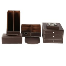 Office Stationery Leather Business Desktop Organizer Sets