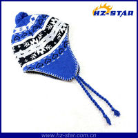 HZM-12173 double layer jacquard man knitted winter warm earloop canadian hat