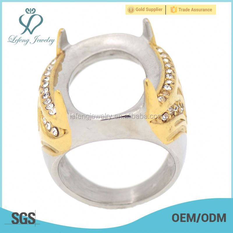 New indonesia gold ring stone stainless steel gothic engagement rings, finger ring mounts without stones