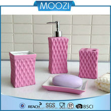 pink rubber coated ceramic bathroom set
