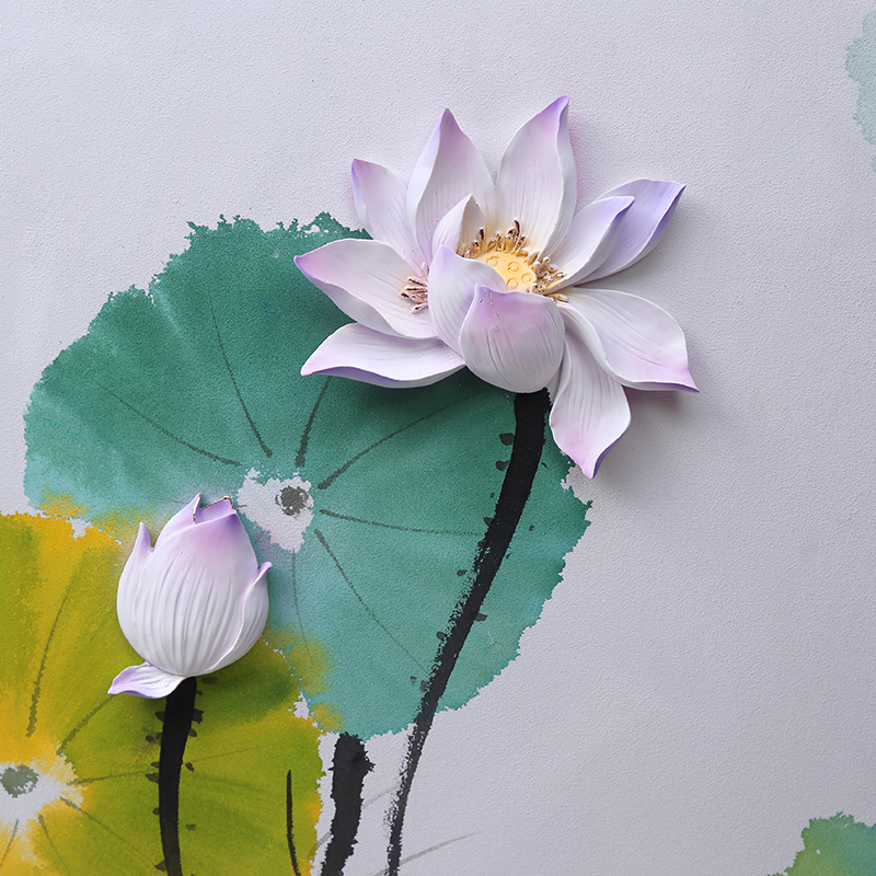 Green and noble lotus chinese style lotus wall art