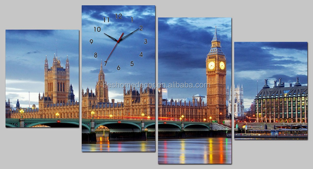 irregular canvas clocks,polygonal wall clock,4 panels wall clocks