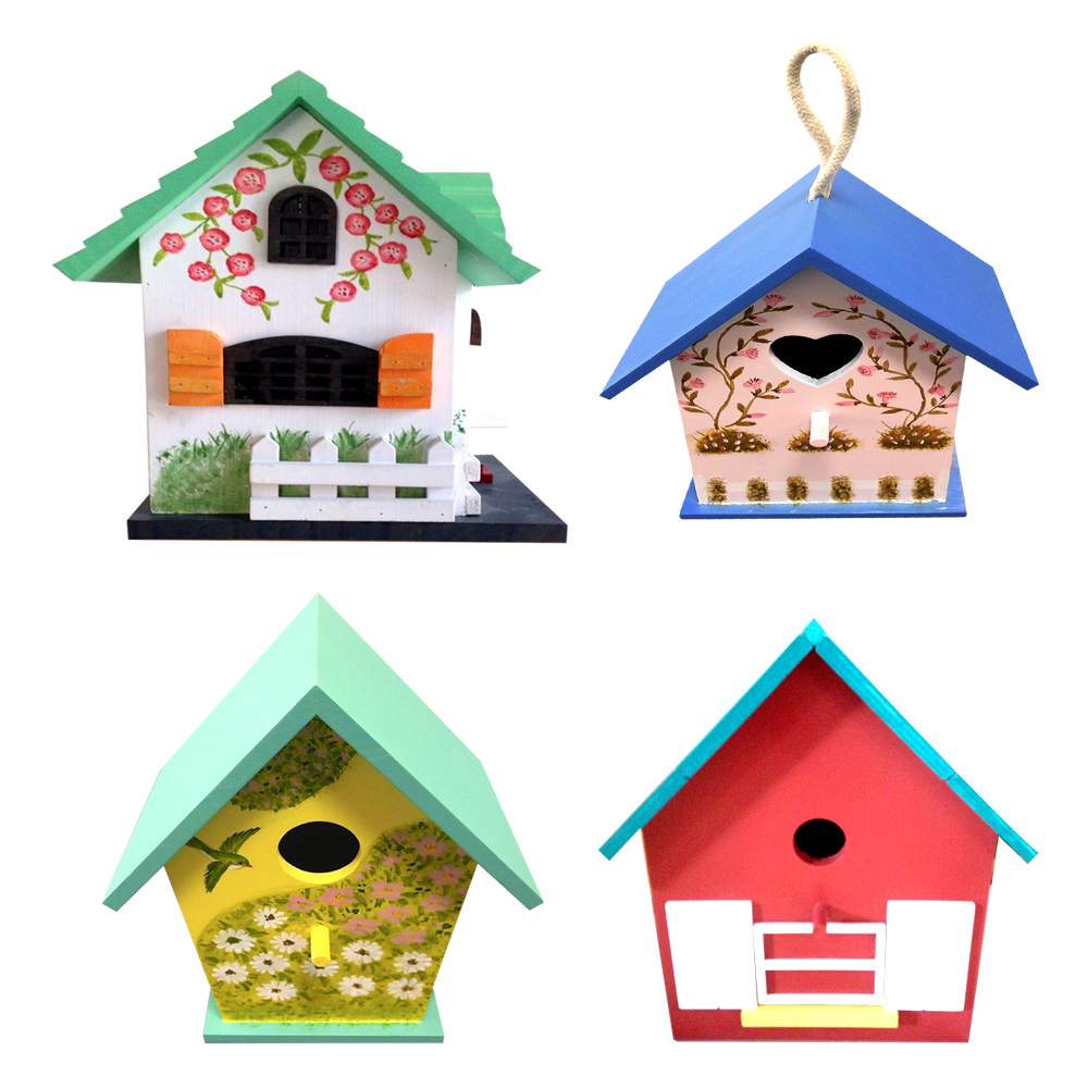 Decorative multi-color outdoor wooden bird cages