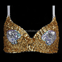 DB070 2015 Carnival belly sexy Handmade rivet decorated Dance Bra , performance shape underwear