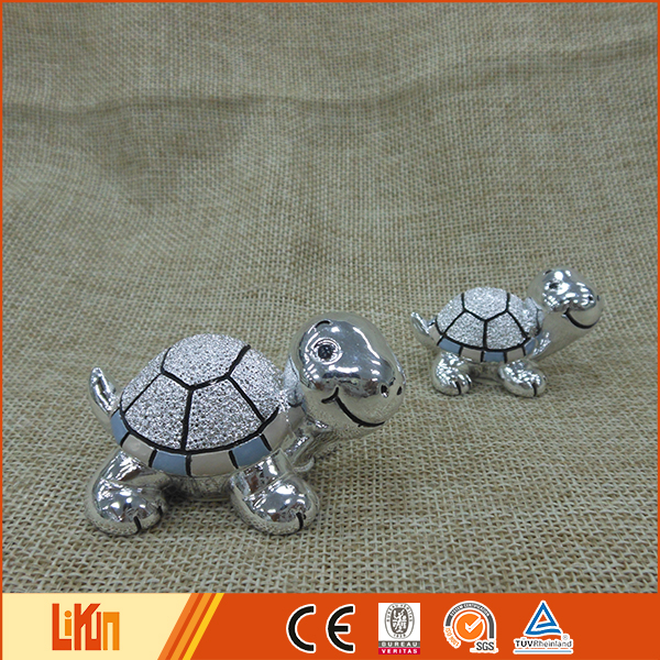 Delicate design colorful plated polyresin animal statues for home decoration