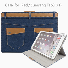 Fashion&Uniqueness Flip Stand Denim Jeans&Leather Tablet Cover Case for Ipad & Sumsang