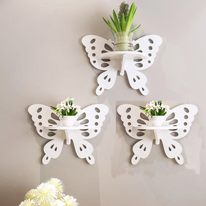 Modern Decorative Butterfly carved wooden wall shelf