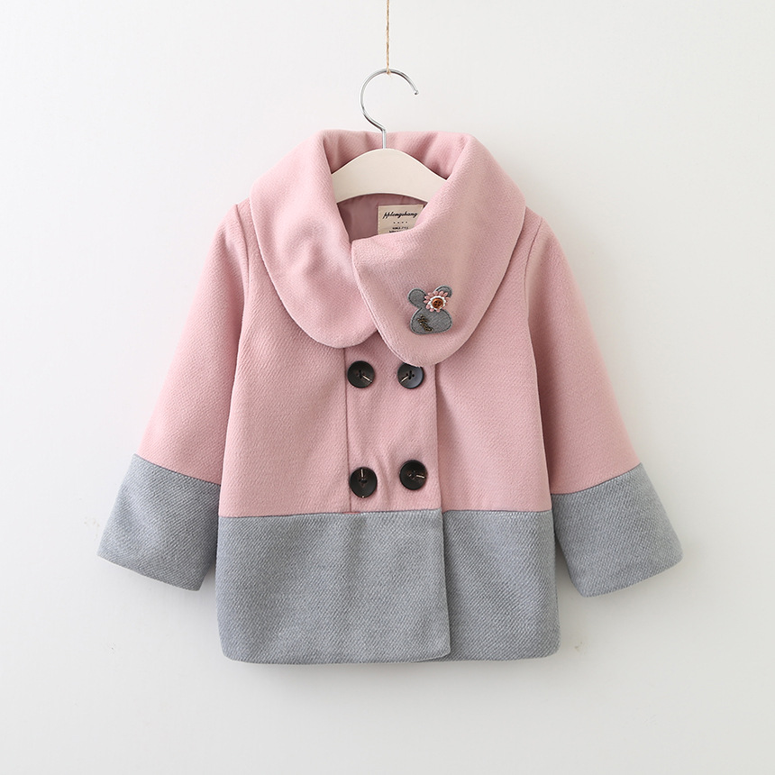 QX1834 2017 winter girl big spell color coat lapels coat children's clothing wholesale