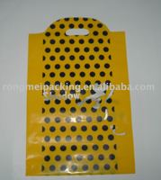 PVC yellow and black point plastic shopping bag