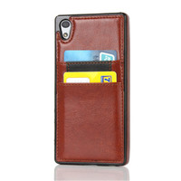bulk cell phone mobile cardslot for sony z5 pu leather case