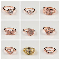 Promotion Cheap Wholesale Different Types Beautiful Rose Gold Diamond Ring for Girls