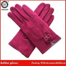 2017 New Winter Cheap Bow Bordeaux Woolen Dress Gloves