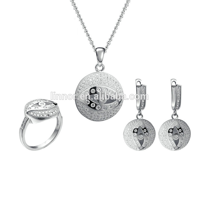 New design round pendant with eye pattern popular engraving 925 sterling silver jewelry set